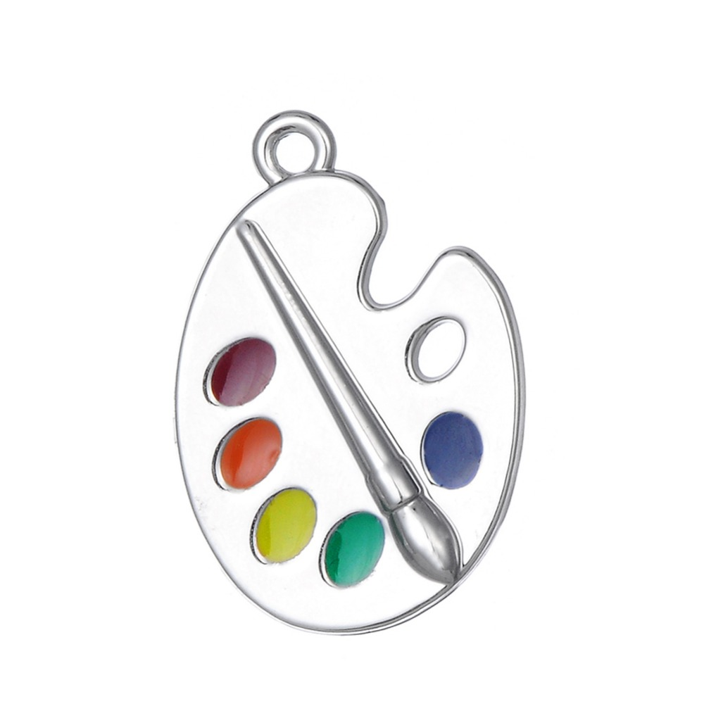 Personalized Painters Enamel Artist Palette <strong>Charm</strong> with Paint and Brush