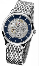 Trendy silver slim stone watch band mechanical watches men skeleton