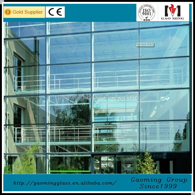 Aluminium exposed frame insulated glass curtain wall price