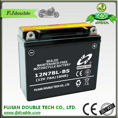 good price made in china 12v 7ah, starting 12N7BL-BS motor cycle battery, motorcycle parts