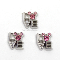 China Wholesale Pink Rhinestone Mickey Mouse Head Love Floating Charms