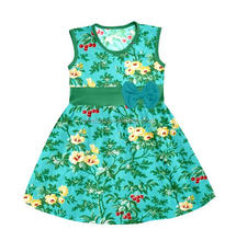 100% Cotton Fabric Wholesale Children Printed Cherries Dress For 1-6 Years Old Baby Girl Dress