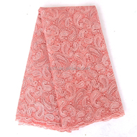 2016 Newest peach guipure lace fabric dresses for women / Top sale african net lace fabric with stones and beads