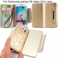 2015 China wholesale leather wallet case cover for Samsung Galaxy S6 edge Multi-function 2 in1 with stand and card slot case