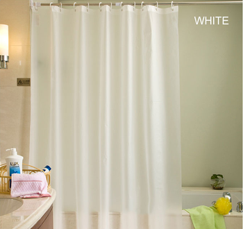 Beige Plastic Shower Curtain Eco-friendly Waterproof Mold Proof Solid PEVA Bathroom Curtains with Hooks Home Decor High Quality