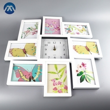 New 8 Multi Photo Frame Wall Clock Modern Family Picture collage Gift/wall clock with photo frame
