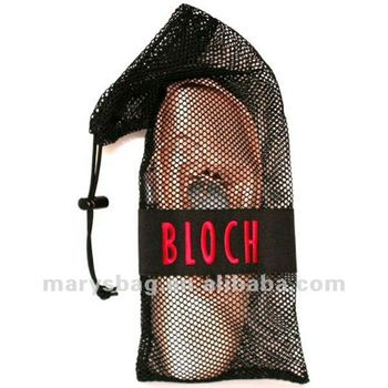 polyester mesh shoe bag with locking drawstring toggle