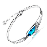 100% Sterling Silver 925 Jewelry Sea Blue Bracelets & Bangles Top Quality!! Free Shipping Glass shoes Bangle
