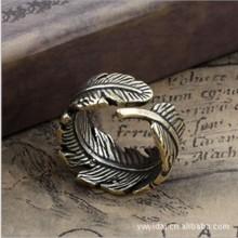 Significant leaves design rings , bronze color vintage rings , great punk rings