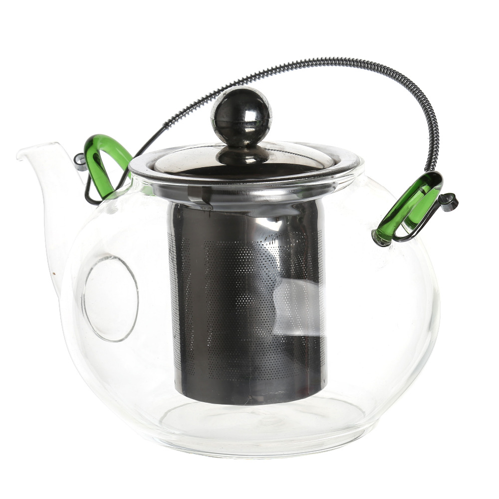 Transparent Glass Tea Kettle Black Stainless Steel Tea Maker Black Teapot Cover with Portable Hand