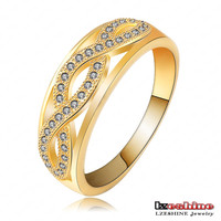 Brass Plated 18 Karat Real Gold Twist braided Men Women Gold Couple Ring Pave CZ Crystal CRI0095