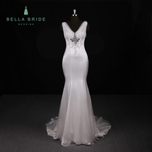 Women's Greek Style sleeveless Beaded Dresses With lace disassembly Watteau Train V-Neck Chiffon wedding dress Bridal Gowns
