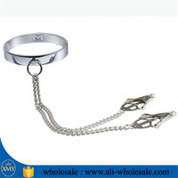 Hot sale flirting round nipple clamps with metal shaking stimulate papilla clip female breast clip