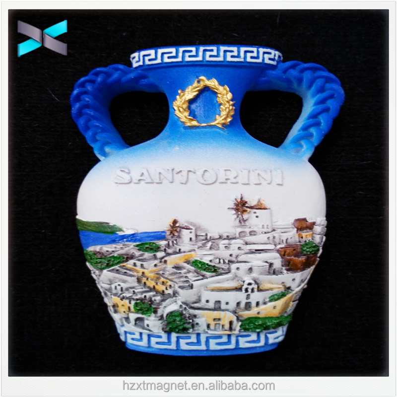 Santotini vase high Quality 3d Polyresin Fridge Magnet for souvenirs