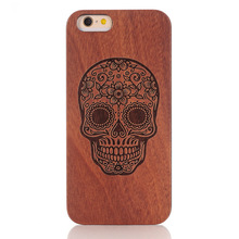 Luxury laser carving pattern engraved wood case for iphone 7 hard wooden phone case