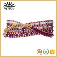new product Purple Mix Beige Wrap with crystal spacer beads Stainless Steel leather Bracelet