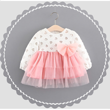 Fashion Europe Princess Dress Spring Autumn Long Sleeve Baby Girls Skirt Birthday Party Kids Clothing with Bow