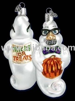 Grouchy Ghost Christmas Ornament