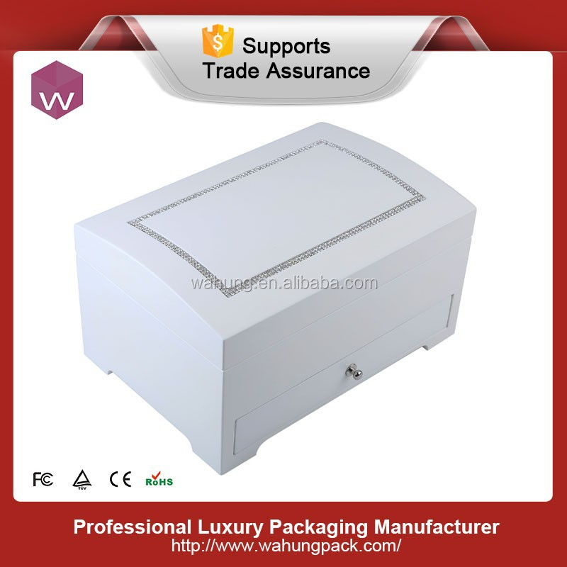 high-end crystal high lacquer white wooden jewelry storage box with drawer