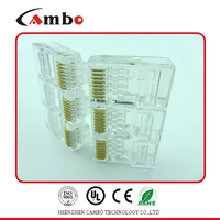 8 pin fu/3u/50u gold plated unshielded rj45 connector with 90 degree