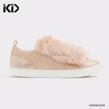 Pink furry sneakers for girls slip on leather sneakers for women custom exclusive designer casual shoes