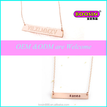 Zinc alloy engraved personal name necklace personal plain bar pendant rose gold chain name necklace