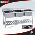 Commercial Kitchen Stainless Steel Metal Triple Sink(INEO are professional on commercial kitchen project)