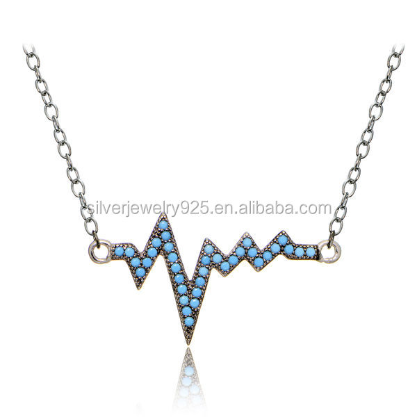 Sterling silver nano turquoise heart beat wave necklace