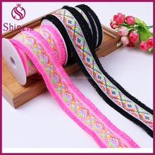 Woven jacquard ethnic ribbon trim with fringe