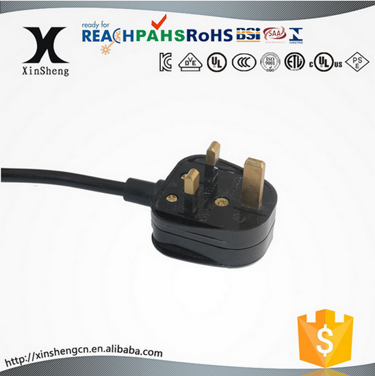 uk bs 1363 electrical ac power 3 pin rewireable plug with uk ac power cable wire
