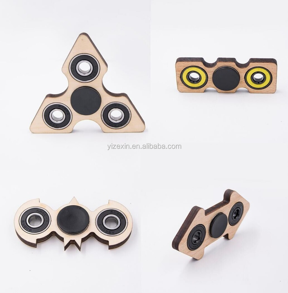 Triangle /2 sides wooden hand fidget spinner relieves stress & anxiety toys