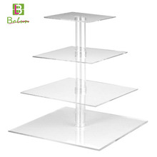 New style coming customized crazy selling classical antique lighted 4 tier acrylic tube carriage square cake stand with lights