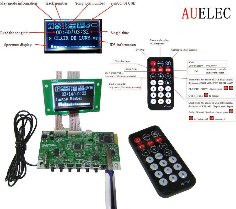 AUELEC wireless Buetooth USB FM mp3 player circuit board pcb
