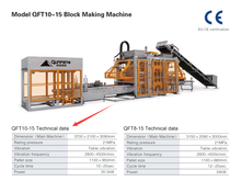 Model QFT10 Cement block and brick making machine