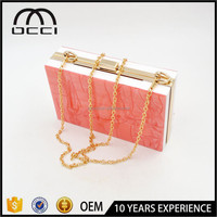 newest design OEM printed acrylic clutch bag box for women party acrylic clutch JS1742