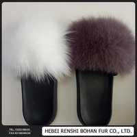 Fashion Design Fox Fur Slippers Fur