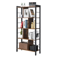 VASAGLE Furniture Industrial Vintage Wood Book <strong>shelf</strong>, 5-Tier Storage Rack, Floor Standing Bookcase in Living Room Office Study