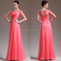 2014 New Elegant Beaded Turkish Eveining Dresses 3/4 Sleeve Mother Of The Bride Gown