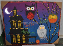 Halloween decoration alibaba express wholesale made in china spooky ghostly owls in the dark led printing canvas