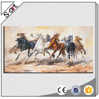 Handpainted abstract horse oil paintings on canvas for home hotel cafe office wall decoration