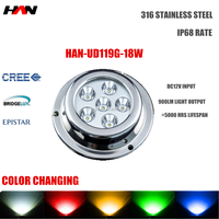 waterproof 12V 18W LED marine underwater boat/yacht/pool/dock light with different colors white red green blue yellow