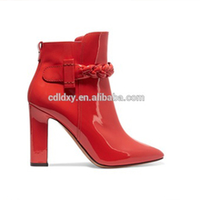 Fashionable pu leather mature sexy women high heels ankle red rubber boots