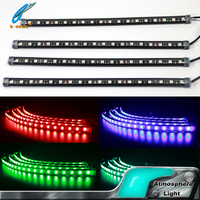 RGB Strips Light 4 pcs kits car interior atmosphere foot well light music control with cigarette lighter