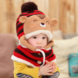 MS80104C Latest style winter kids two pieces animal pattern cute hats