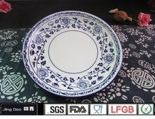 6.5'' Handpainting Round Blue and White Porcelain Plates Salad Cake Dishes Candy Tray Retro Fruite Soup Dinner Serving Plate