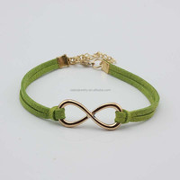 Multi Colored Leather Bracelet Waxed Cotton Cord Bracelet Handmade Infinity Simple Design Bracelets