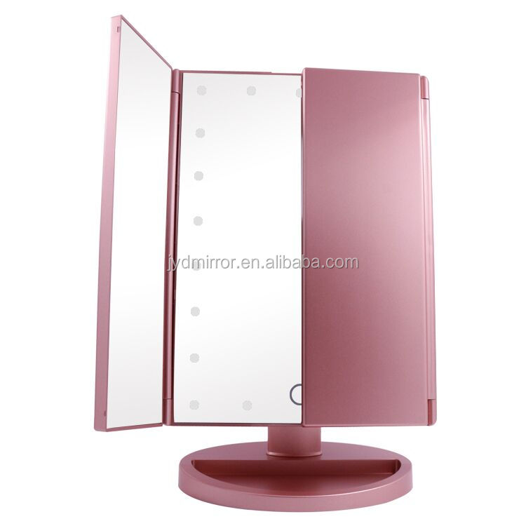 Three panels trifolding 16/21 pcs dimmable led light touch sensor mirror