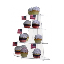 4 Tier Half Shelf Counter Top Acrylic Cupcake Stand Display Riser Bakery Assembled