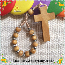 Wholesale round wooden beads catholic ring, religious ring, finger rosary ring