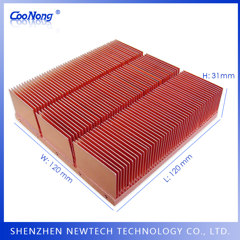 China custom 120mm copper skiving 8 inch communication/converter/satellite heat sink